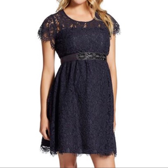 3a96b56f3572e MATERNITY Jessica Simpson Lace Dress Navy Belted. M_5a9b5374caab446313ef3184